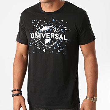 Films et Séries TV - Tee Shirt Universal Logo Splatter Noir
