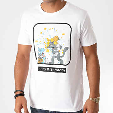 The Simpsons - Tee Shirt Itchy Et Scratchy Blanc
