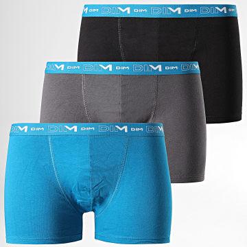 Dim - Lot De 3 Boxers Coton Stretch D6596 Noir Bleu Gris