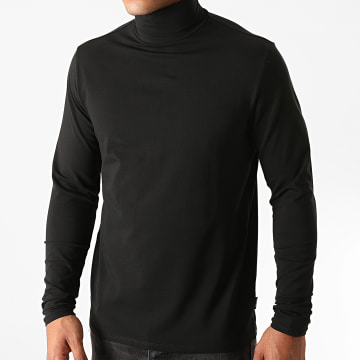 Only And Sons - Tee Shirt Manches Longues Col Roulé Lasse Noir