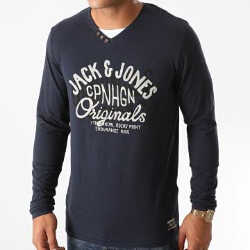 Jack And Jones - Tee Shirt Manches Longues Merlin Bleu Marine