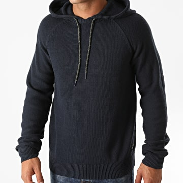 Jack And Jones - Pull Capuche Luke Knit Bleu Marine