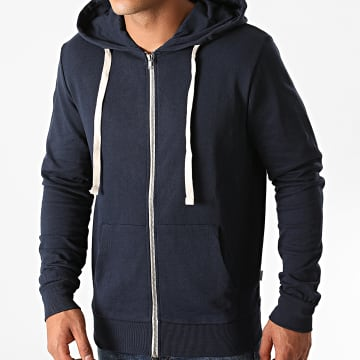 Jack And Jones - Sweat Zippé Capuche Holmen Bleu Marine