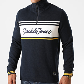 Jack And Jones - Pull Col Zippé Francis Knit Bleu Marine