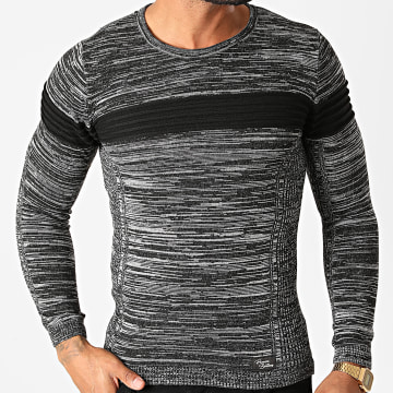 Paname Brothers - Pull PNM-206 Noir Chiné