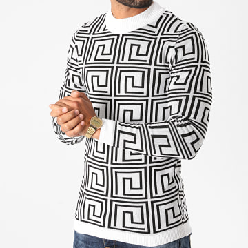 Paname Brothers - Pull PNM-200 Blanc Noir
