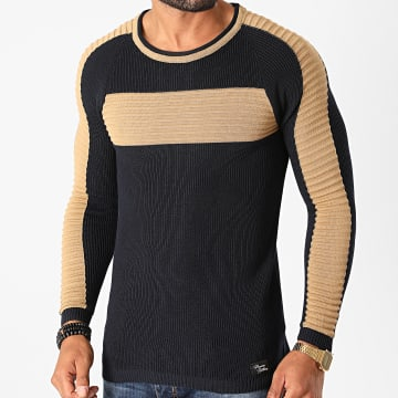 Paname Brothers - Pull A Bandes PNM-203 Bleu Marine Camel