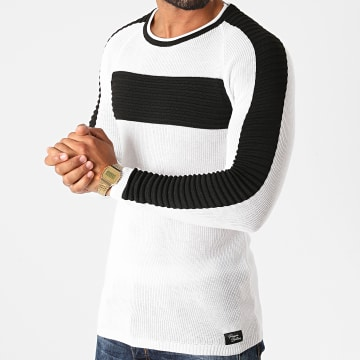 Paname Brothers - Pull A Bandes PNM-203 Blanc Noir