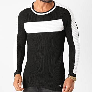 Paname Brothers - Pull A Bandes PNM-203 Noir Blanc