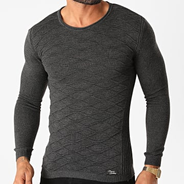 Paname Brothers - Pull PNM-201 Gris Anthracite Chiné
