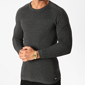 Paname Brothers - Pull PNM-202 Gris Anthracite Chiné