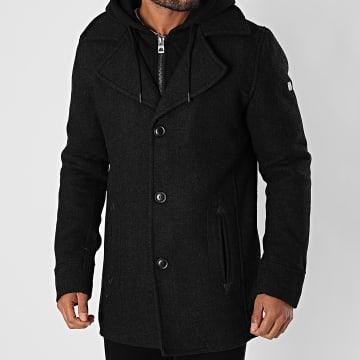 Indicode Jeans - Manteau Capuche Adair Noir