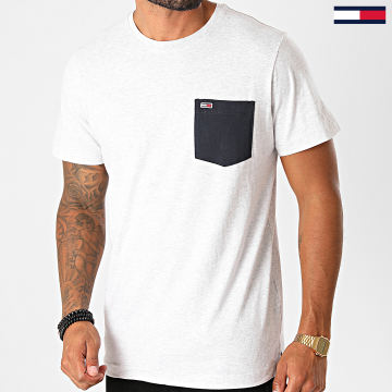 Tommy Jeans - Tee Shirt Poche Contrast Pocket 9370 Gris Chiné