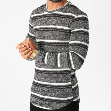 Frilivin - Tee Shirt Manches Longues Oversize 5526 Noir Blanc Chiné