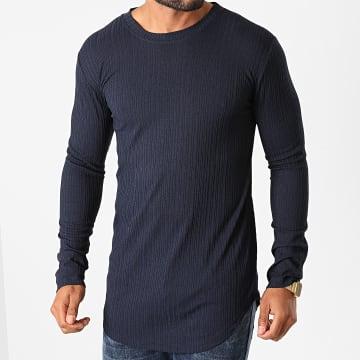 Frilivin - Tee Shirt Manches Longues Oversize 5519 Bleu Marine