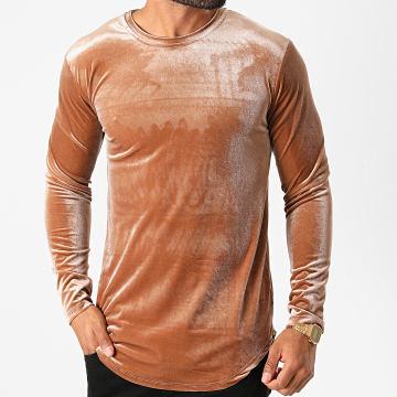 Frilivin - Tee Shirt Manches Longues Oversize Velours 15021 Marron