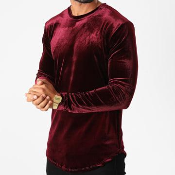 Frilivin - Tee Shirt Manches Longues Oversize Velours 15021 Bordeaux
