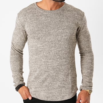 Frilivin - Tee Shirt Manches Longues Oversize 5521 Beige Gris Chiné