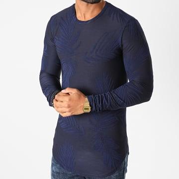 Frilivin - Tee Shirt Manches Longues Oversize Floral U2142 Bleu Marine