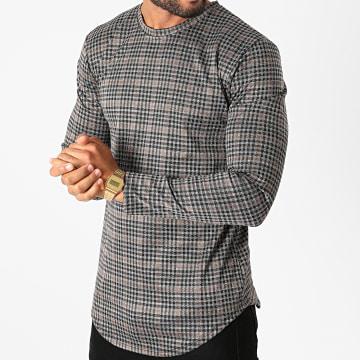 Frilivin - Tee Shirt Manches Longues Oversize A Carreaux 15032 Gris Noir