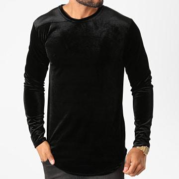 Frilivin - Tee Shirt Manches Longues Oversize Velours 15021 Noir