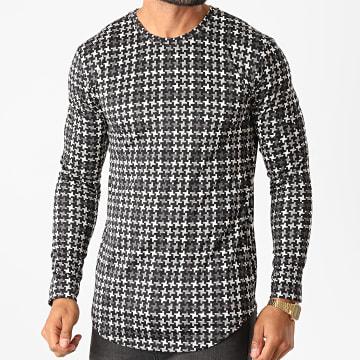 Frilivin - Tee Shirt Manches Longues Oversize 15023 Noir Gris Ecru