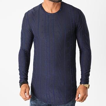 Frilivin - Tee Shirt Manches Longues Oversize U2139 Bleu Marine