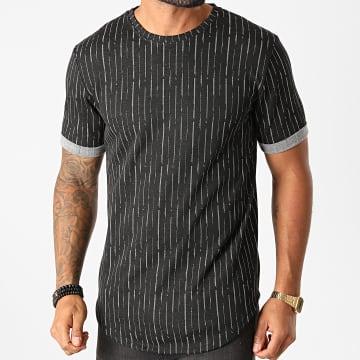 Frilivin - Tee Shirt Oversize A Rayures 13985 Noir