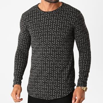 Frilivin - Tee Shirt Manches Longues Oversize Y2382 Noir
