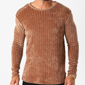 Frilivin - Tee Shirt Manches Longues Oversize U2056 Marron