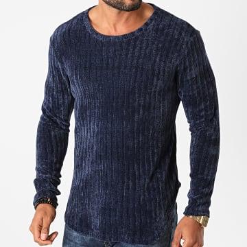 Frilivin - Tee Shirt Manches Longues Oversize U2056 Bleu Marine