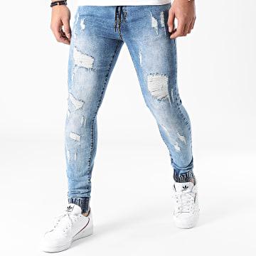 LBO - Jogger Pant Skinny Jeans Avec Dechirures LB054J Denim Bleu Medium