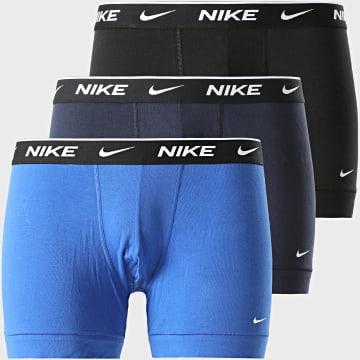 Nike - Lot De 3 Boxers Everyday Cotton Stretch KE1008 Noir Bleu Marine Bleu Indigo