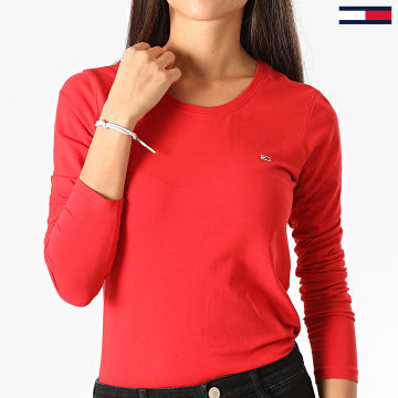 Tommy Jeans - Tee Shirt Manches Longues Femme Jersey Scoop 8956 Rouge