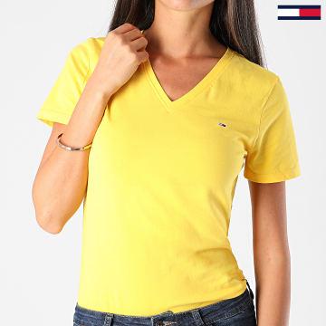 Tommy Jeans - Tee Shirt Slim Femme Col V Jersey VN 9438 Jaune