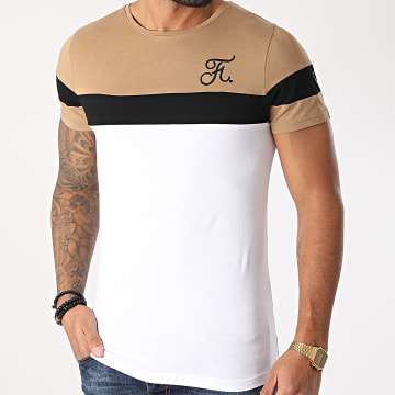 Final Club - Tee Shirt Tricolore Avec Broderie 439 Blanc Noir Camel