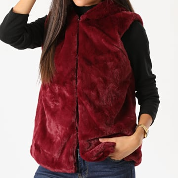 Girls Only - Gilet Capuche Sans Manches Femme Palma Bordeaux