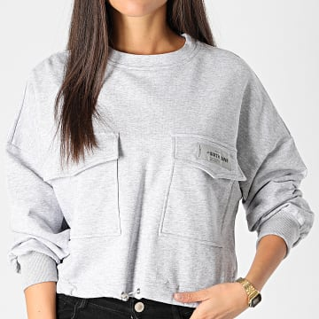 Sixth June - Sweat Crewneck Femme Crop W3963CSW Gris Chiné