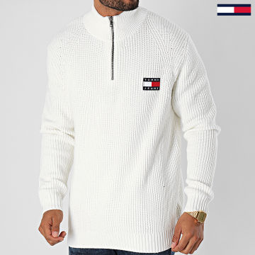 Tommy Jeans - Pull Col Zippé Tommy Badge 8809 Ecru