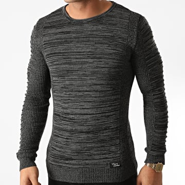 Paname Brothers - Pull PNM-207 Noir Gris Anthracite