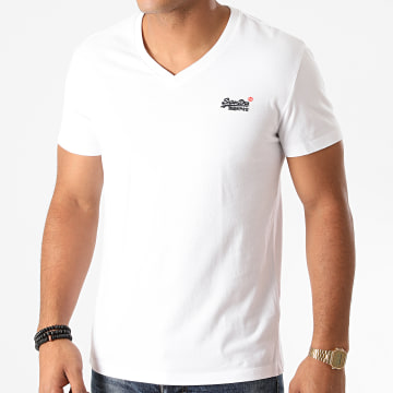 Superdry - Tee Shirt Col V OL Classic M1010209A Blanc
