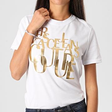 Versace Jeans Couture - Tee Shirt Femme B2HZB7TC-30319 Blanc Doré