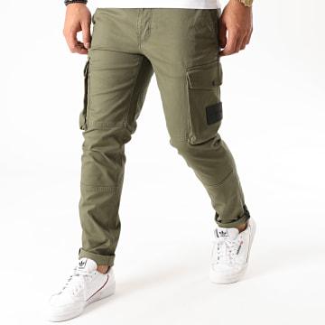 Calvin Klein - Pantalon Cargo Skinny Washed Peache 6491 Vert Kaki
