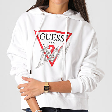 Guess - Sweat Capuche Femme Strass W0BQ04-K68I0 Blanc