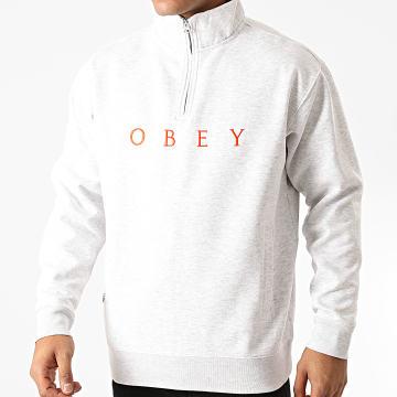 Obey - Sweat Col Zippé Lassen Gris Chiné