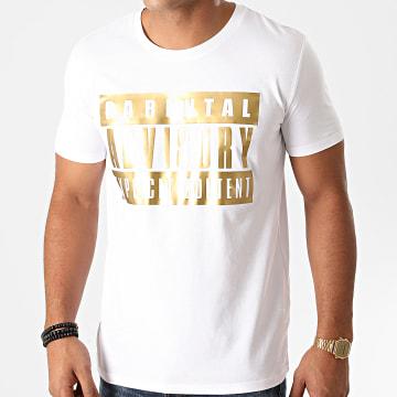 Parental Advisory - Tee Shirt Logo Blanc Doré