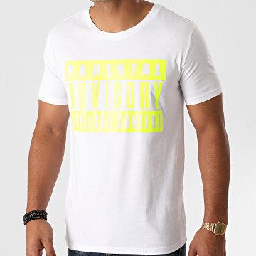 Parental Advisory - Tee Shirt Logo Blanc Jaune