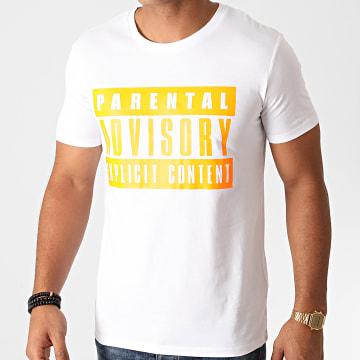 Parental Advisory - Tee Shirt Logo Blanc Orange