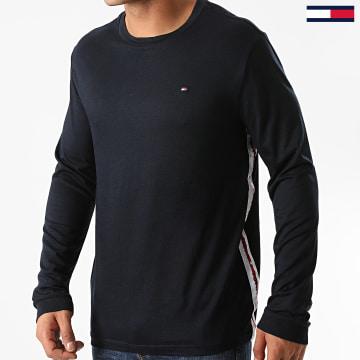 Tommy Hilfiger - Tee Shirt Manches Longues A Bandes Logo 1988 Bleu Marine