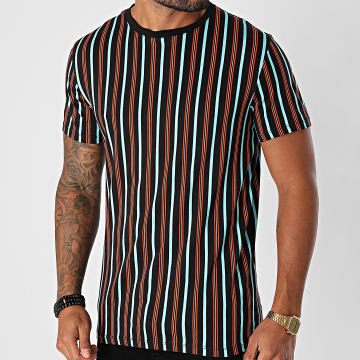 Aarhon - Tee Shirt A Rayures 92567 Noir Bleu Orange